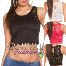 SEXY SLEEVELESS CROP TANK TOP S WOMENS LACE SHIRT summer blouse CASUAL FLORAL AU