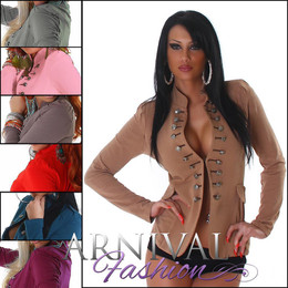 Sexy women MILITARY BUTTON UP JACKET LADIES SLIM TOP COAT blazer cardigan COVER