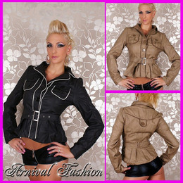 SEXY WOMEN LEATHER JACKET COAT belt 8 10 12 14 LADIES CASUAL OUTWEAR top winter
