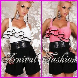 SEXY WOMEN SHORT OVERALL JUMPSUIT CASUAL playsuit ROMPER PANTS sleeveless TOP AU