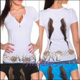 SEXY WOMENS CASUAL v neck TOPS summer T SHIRT short sleeve BLOUSE LOGO au XS S M
