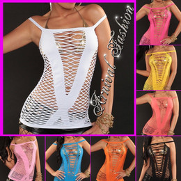 SEXY WOMENS SLEEVELESS MESH TOP STRAPPY BEACH SUMMER FISHNET SHIRT S M BLOUSE AU