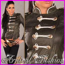 WOMEN BUTTON UP LEATHER JACKET TOP 6 8 10 12 14 LADIES CASUAL COAT OUTWEAR slim