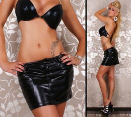 WOMEN SEXY BLACK LEATHER SKIRT 4 6 8 10 12 MICRO MINI PARTY ADULTS DANCEWEAR AU
