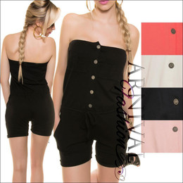 Women OVERALL STRAPLESS short JUMPSUIT SEXY ROMPER pants sleeveless top PLAYSUIT