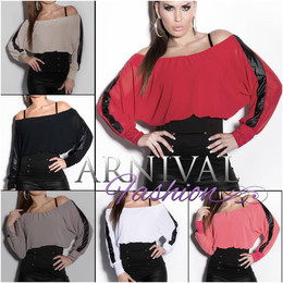 WOMENS LONG SLEEVE LOOSE TOPS CASUAL chiffon SHIRT SEXY LADIES BLOUSE XS S M L