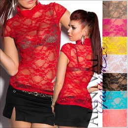 WOMENS FASHION lacy DANCE TOP XS S M L short sleeve lace BLOUSE SEXY CLUBWEAR AU