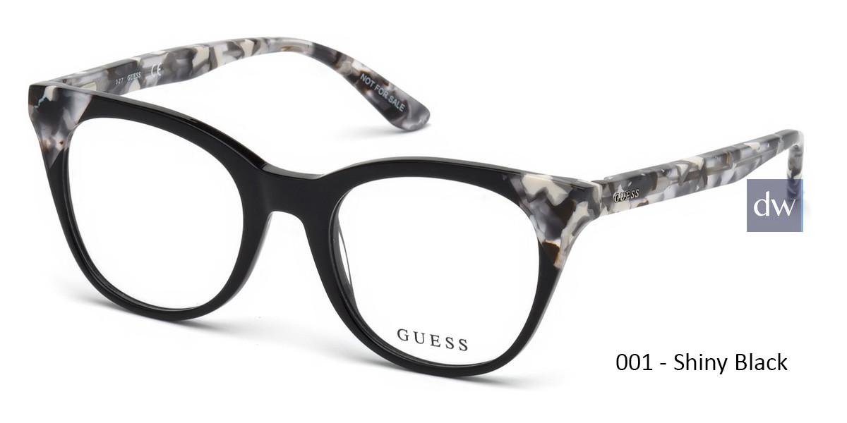 001 - Shiny Black Guess GU2675 Eyeglasses - Teenager