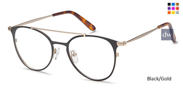 Black/Gold Capri DC174 Eyeglasses.
