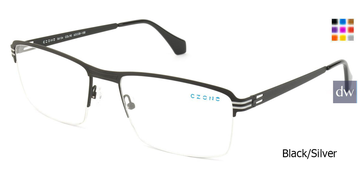 Black/Silver C-Zone E6134 Eyeglasses.