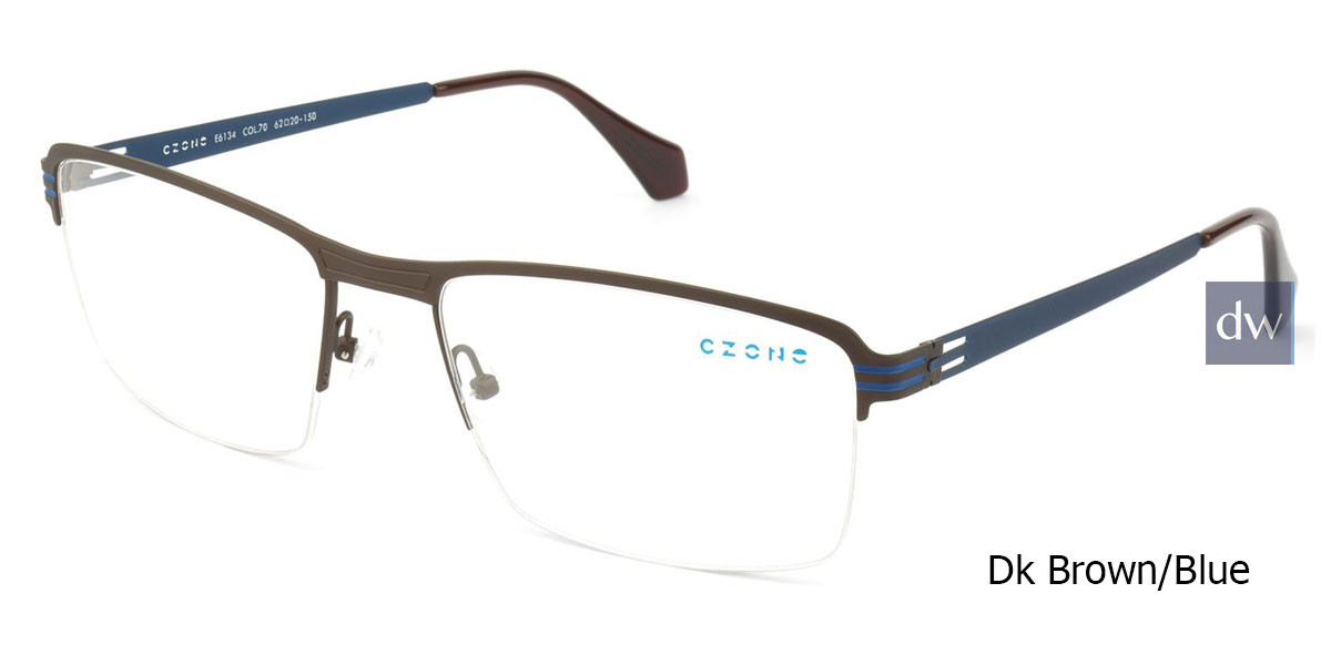 Dk Brown/Blue C-Zone E6134 Eyeglasses.