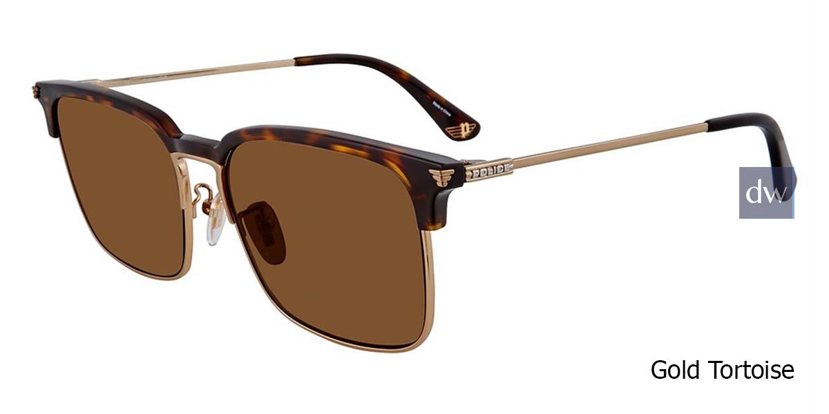 Gold Tortoise Police SPL576E Sunglasses.