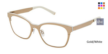 Gold/White Kate Yong For Tura K313 Eyeglasses.