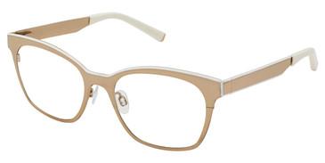 Gold/White Kate Yong For Tura K313 Eyeglasses.
