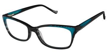 Black/Turquoise Tura R553 Eyeglasses.