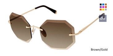 Brown/Gold Kate Yong For Tura K541 Sunglasses.