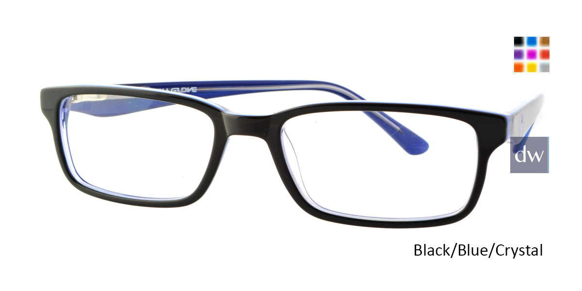 Black/Blue/Crystal Body Glove BB131 Eyeglasses.