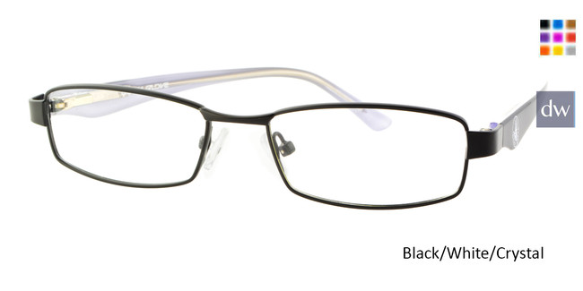 Black/White//Crystal Body Glove BB132 Eyeglasses - Teenager.
