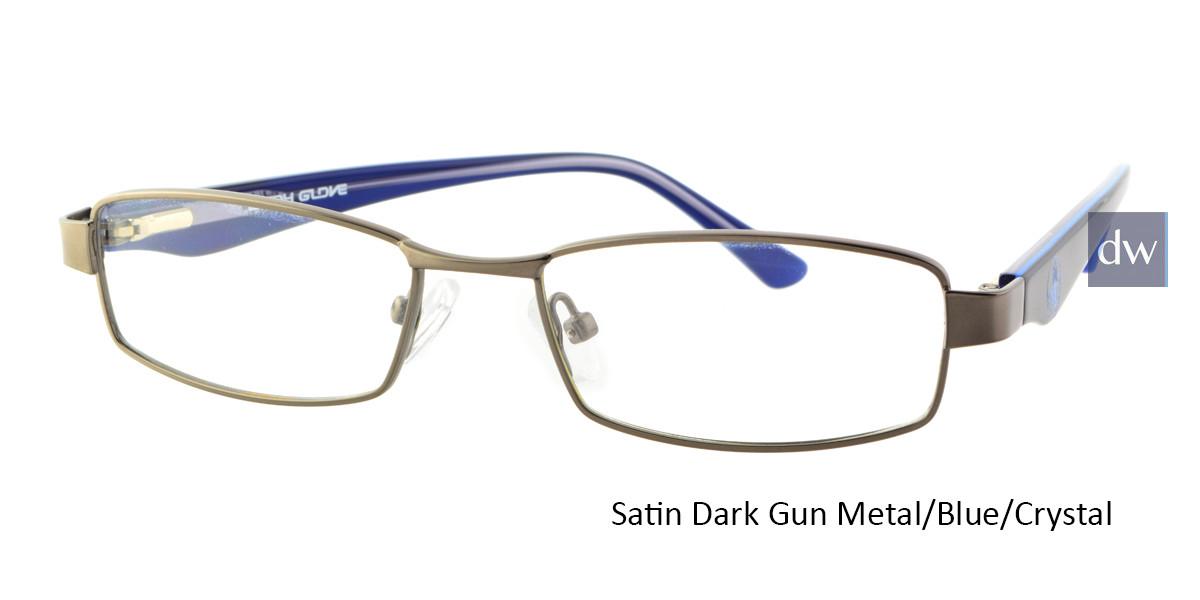 Satin Dark Gun Metal/Blue/Crystal Body Glove BB132 Eyeglasses - Teenager.