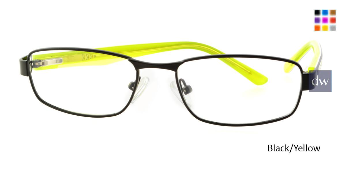 Black/Yellow Body Glove BB136 Eyeglasses - Teenager.