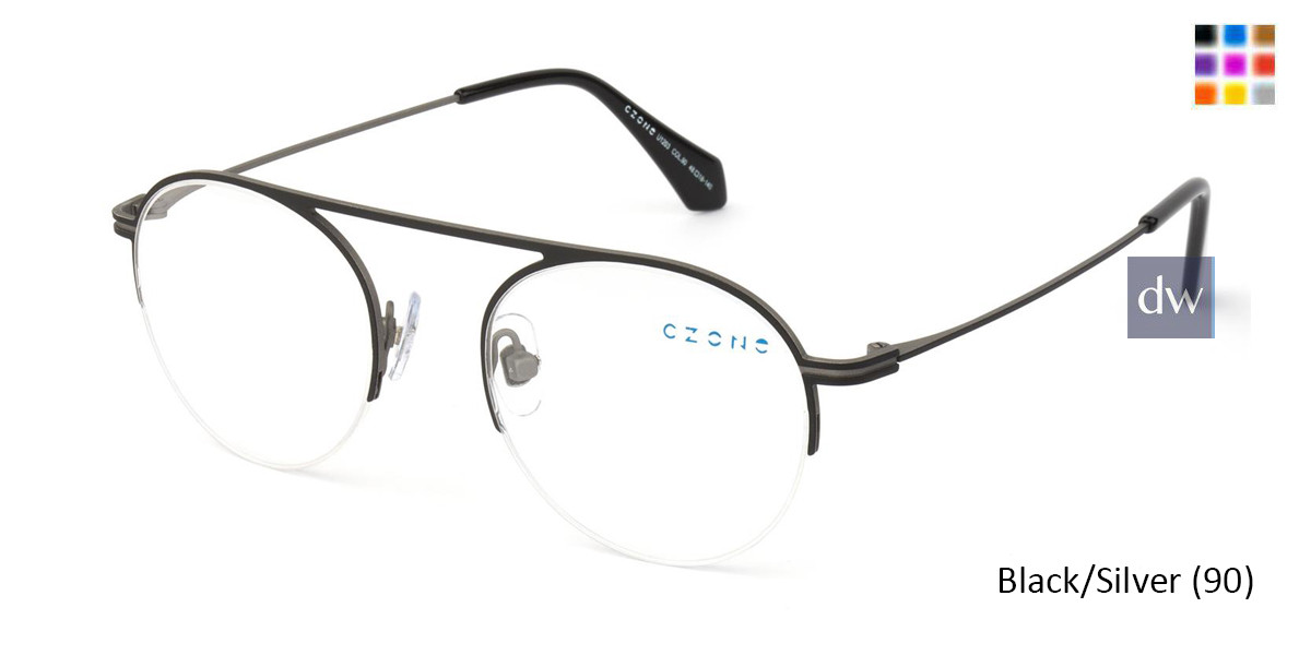 Black/Silver C-Zone U1203 Eyeglasses - Teenager