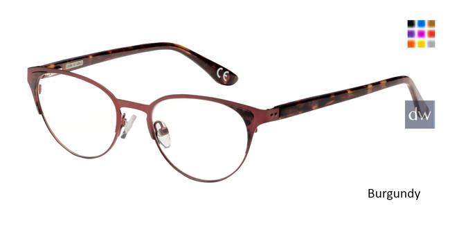 Burgundy Corinne McCormack Hester eyeglasses.