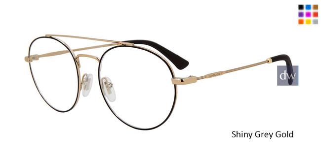 Shiny Grey Gold Police VLP728 Eyeglasses.