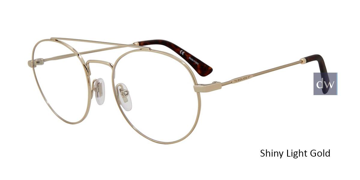 Shiny Light Gold Police VLP728 Eyeglasses.