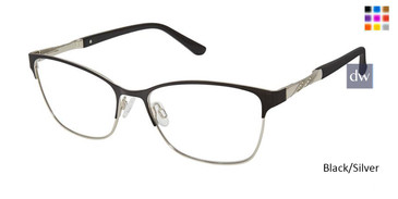 Black/Silver Superflex SF-537 Eyeglasses