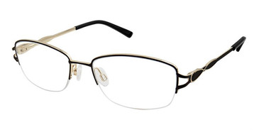 Black/Gold Superflex SF-532 Eyeglasses.