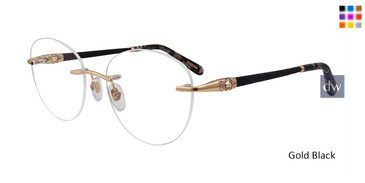 Gold Black Chopard VCHC71S Eyeglasses.