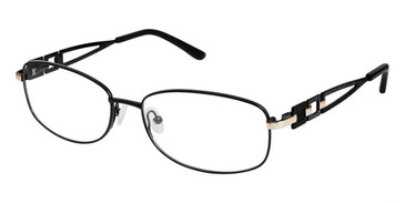 Black/Gold Superflex Titan SF-1108T Eyeglasses.