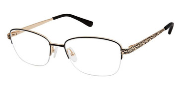 Black/Gold Superflex Titan SF-1105T Eyeglasses.
