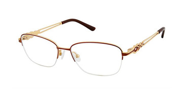 Brown/Gold Superflex Titan SF-1103T Eyeglasses.