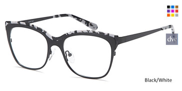Black/White Capri DC327 Eyeglasses.