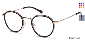 Black/Gold Capri DC333 Eyeglasses.