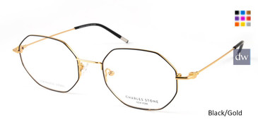 Black/Gold William Morris Charles Stone NY CSNY30044 Eyeglasses.