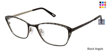 Black Argyle Kliik Denmark 649 Eyeglasses- Teenager