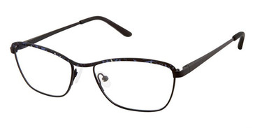 Black Demi Blue Superflex Titan SF-1112T Eyeglasses.