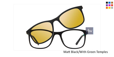 Matt Black/With Green Temples Vivid Collection 6016 Sunglasses - Teenager.