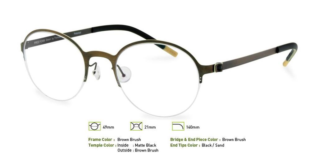 Brown Brush Free-Form FFA915 Eyeglasses.