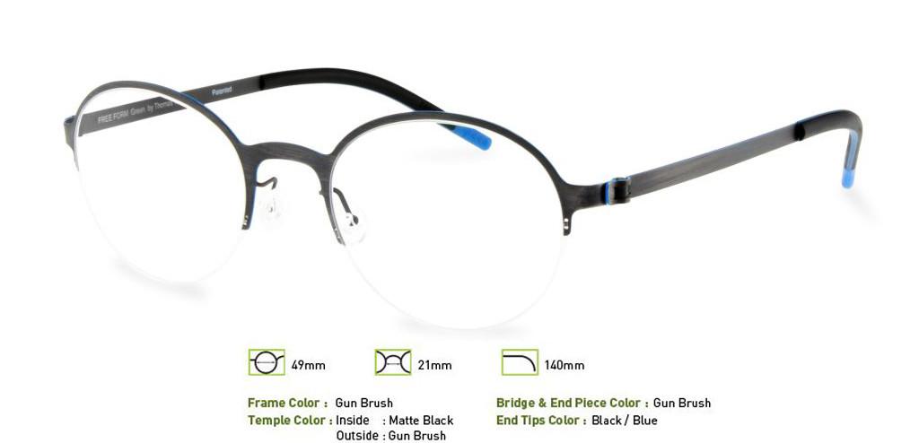 Gunmetal Brush Free-Form FFA915 Eyeglasses.