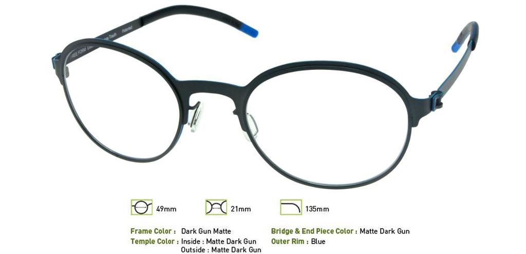 Matte Dark Gunmetal Free-Form FFA925 Eyeglasses