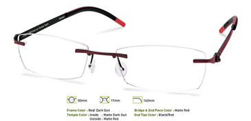 Red/ Dark Gunmetal, Free-Form FFA951 Eyeglasses
