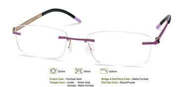 Fuchsia/Gold Free-Form FFA952 Eyeglasses