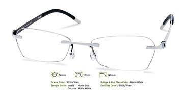 White/ Gunmetal, Free-Form FFA953 Eyeglasses