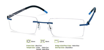 Blue/ Gunmetal, Free-Form FFA954 Eyeglasses