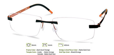 Dark Gunmetal/Orange Free-Form FFA957 Eyeglasses