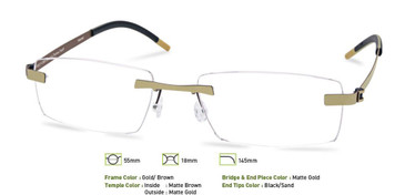 Gold/ Brown, Free- Form FFA958 Eyeglasses