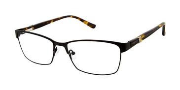 Matte Black Nicole Miller Carman YourFit Titanium Eyeglasses.